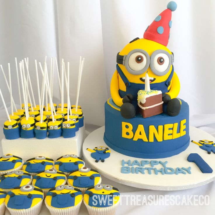 Had such fun making this #minions #cake #marshmallowpops and #cupcakes for #banele who turned #1. #minionsmovie #minionscake #joburg #party #partyhat #sliceofcake #johannesburg #sweettreasures #sweettreasurescakeco