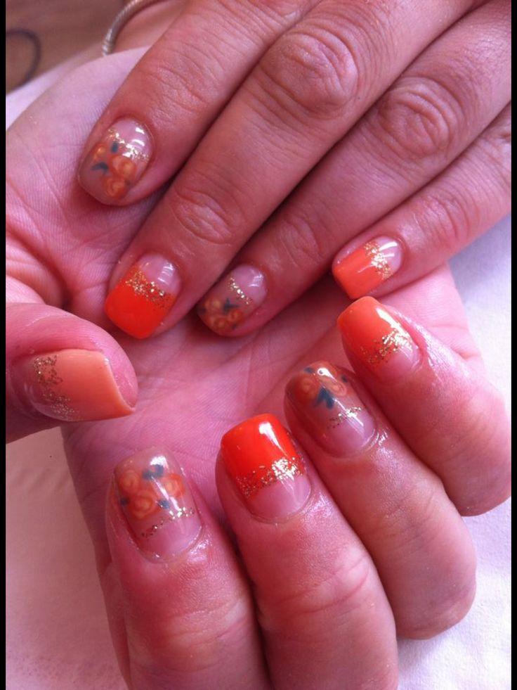 Orange floral rose half moon manicure CALGEL nails