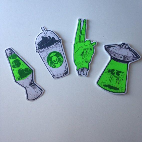 Psychedelic Alien stickers by Lufaa on Etsy