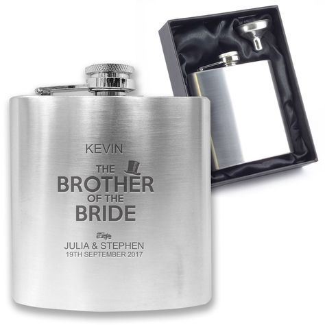 Personalised #engraved brother of the #bride hip flask wedding gift, #boxed - ha6, View more on the LINK: http://www.zeppy.io/product/gb/2/252704193822/