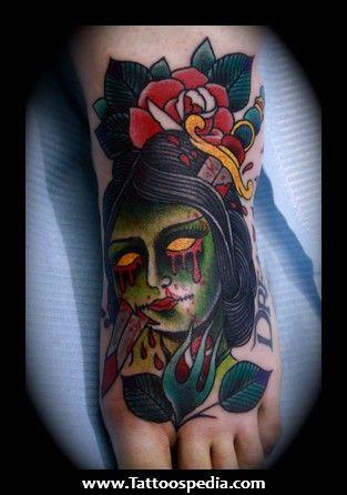 traditional viking tattoo Traditional Zombie Tattoo Flash