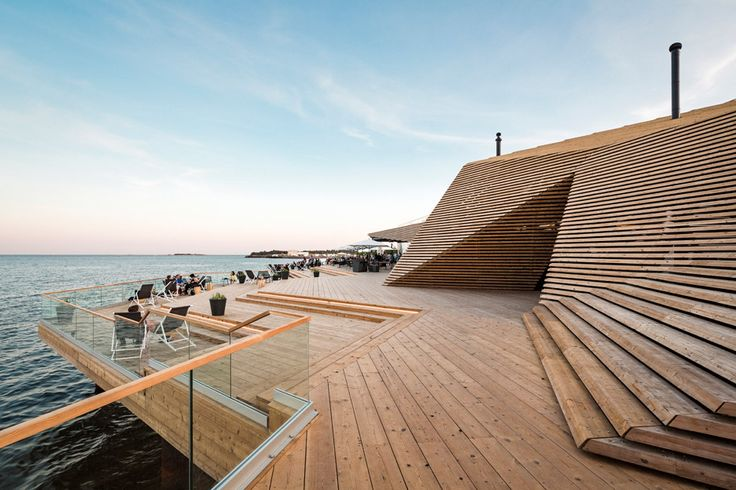Named Löyly, the coastal sauna is located in Hernesaari, a former industrial area of Helsinki that is currently being redeveloped to include housing and parkland. The building also houses a restaurant.