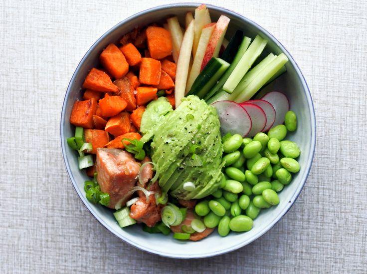 Kvällens supersmarriga middag. Soyamarinerad lax, sötpotatis, edamamebönor, gurka, äpple, rädisa, salladslök och avokado.