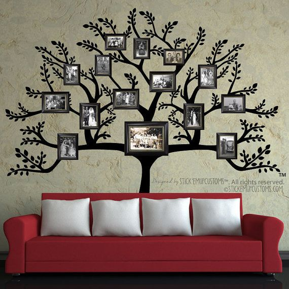 Tree Wall Decal - FREE SHIPPING* - Large Family Tree Branch Leaves Pictures Frames Photo Collage Living Dining Room Hallway Interior Decor