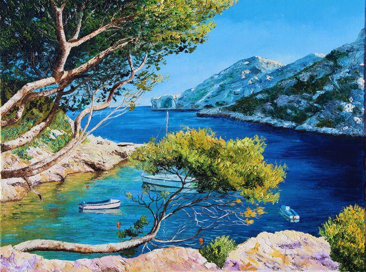 """Cove of Morgiou"" 50x65 cm Jean-Marc JANIACZYK French landscape painter."