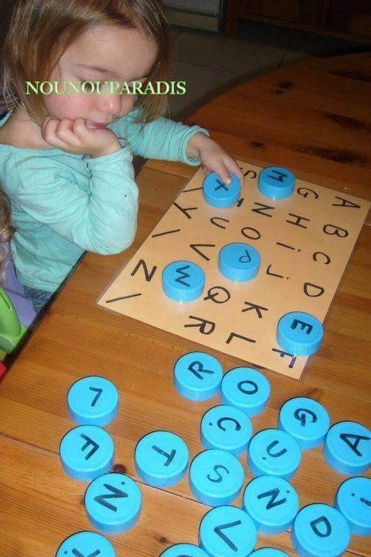 Alphabet educational game with bottle lids, upcycling PET caps