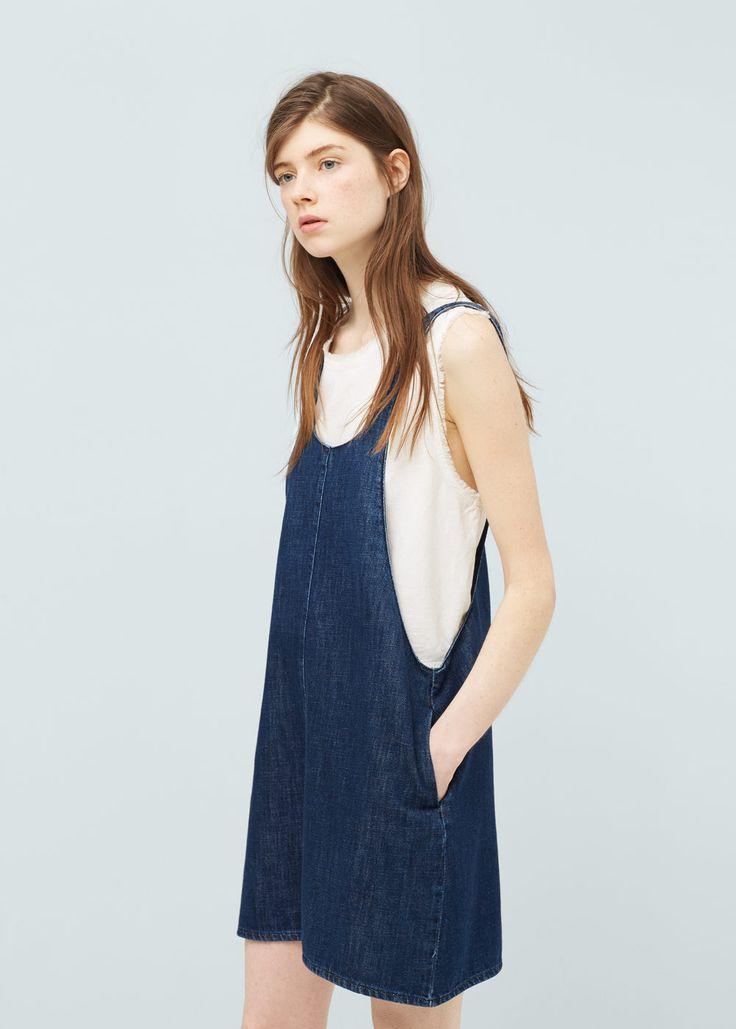 Dark denim pinafore dress -  Women   MANGO USA