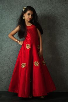 Silk gown embellished with beads and sequins work from #Benzer #Benzerworld #ethnicwear #Kidswear