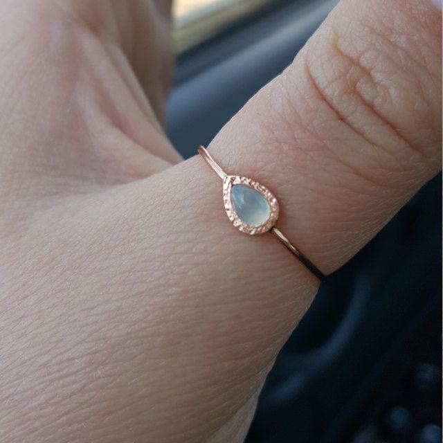 chalcedony ring in 14k rose gold