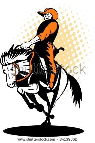 Rodeo cowboy riding a horse in full gallop #rodeo #retro #illustration