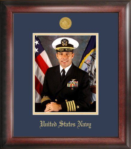 navy portrait gold embossed frame by patriot frames httpwwwamazon - Military Picture Frames