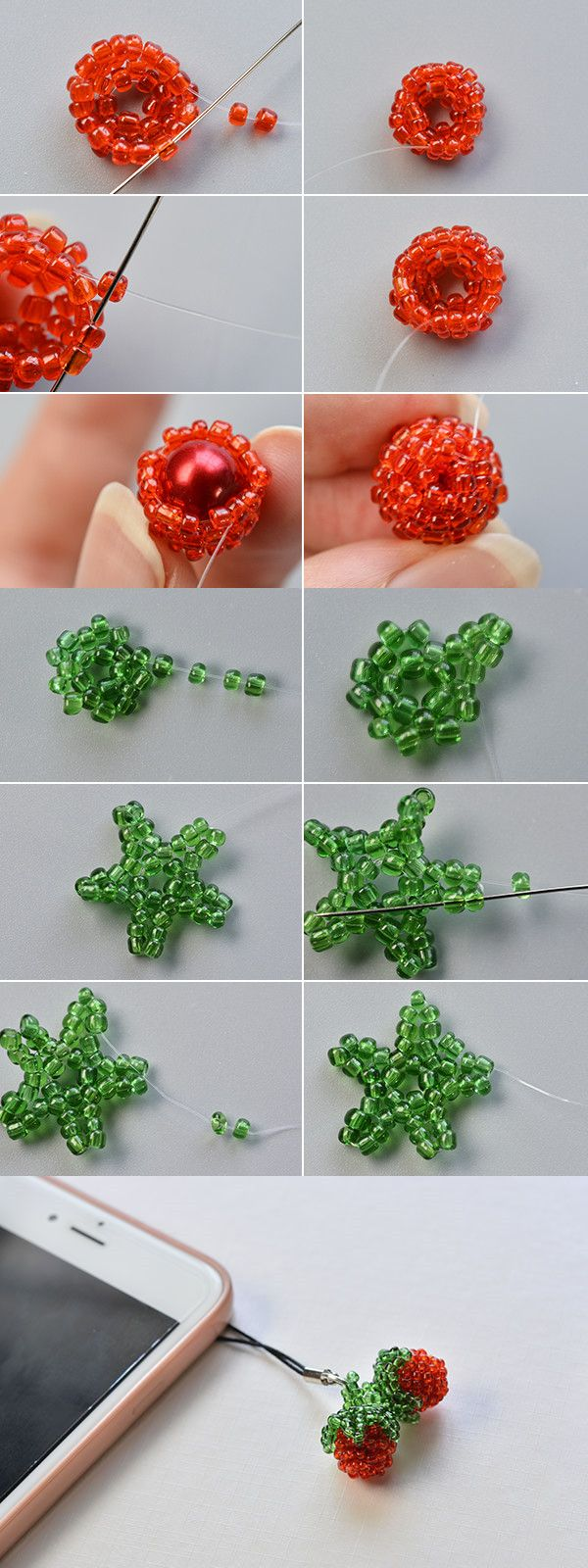 Strawberry beaded hanging ornament, like it? The tutorial will be published by LC.Pandahall.com