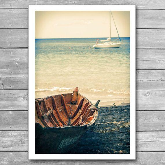 "Boat and Yacht Tropical Sea Coast Framed Photo by cinema4design, Seascape Photography, Sea Coast, Yachts in Sea, Marine Theme, Photo Prints, Travel Poster, Office Wall Decor, Old Boat, Tropical Coast, Sea Poster, Framed Photo From ""Caribbean"" photo series."