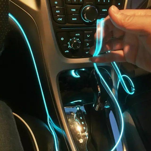 Car 2m Optical Fiber LED Interior Ambient Light Atmosphere Lamp Strip Wire Decor