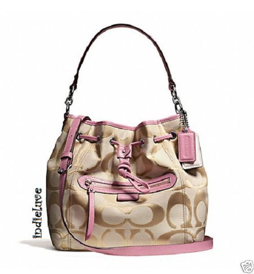 Coach Daisy Outline Signature Metallic Drawstring Shoulder Bag ...