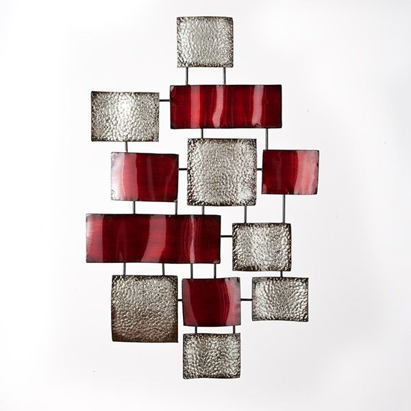 Metal wall art - Bouclair Home Red/silver perfect for living room ...