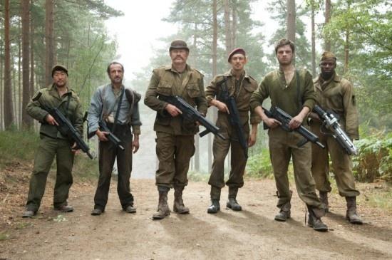 Captain America's right hand men. L-R: Jim Morita, Jacques Dernier, Dum Dum Dugan, James Montgomery Falsworth, James Barnes/Bucky and Gabe Jones