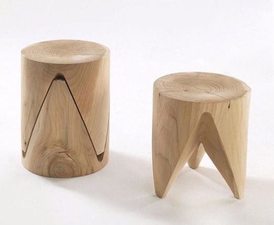 Puzzle piece stools - natural wood furniture