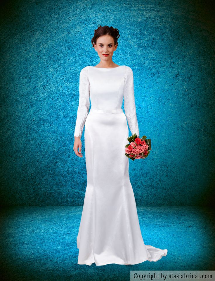 Modest wedding dress with sleeves classic beautiful for Have wedding dress made