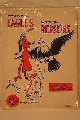 Philadelphia Eagles Vs. Washington Redskins Oct. 21, 1962 Nfl Football Program