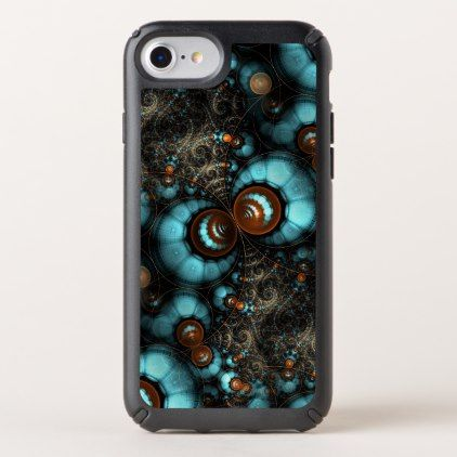Retro Chic Brown Aqua Turquoise Fractal Pattern Speck iPhone Case - pattern sample design template diy cyo customize