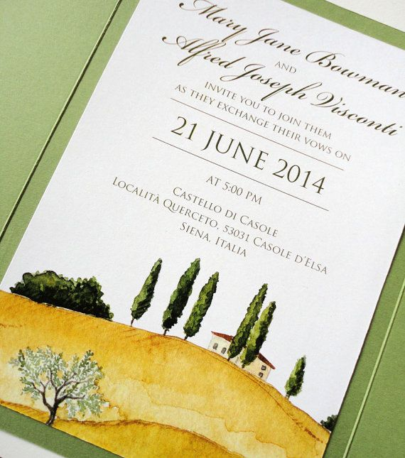SAMPLE  Tuscan Landscape Wedding Invitation Set by NooneyArt