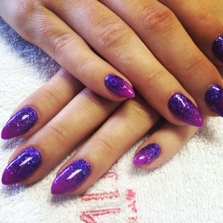 Gel Nail Art Gallery: Bio Sculpture Gel Nails. Purple Glitter Fade