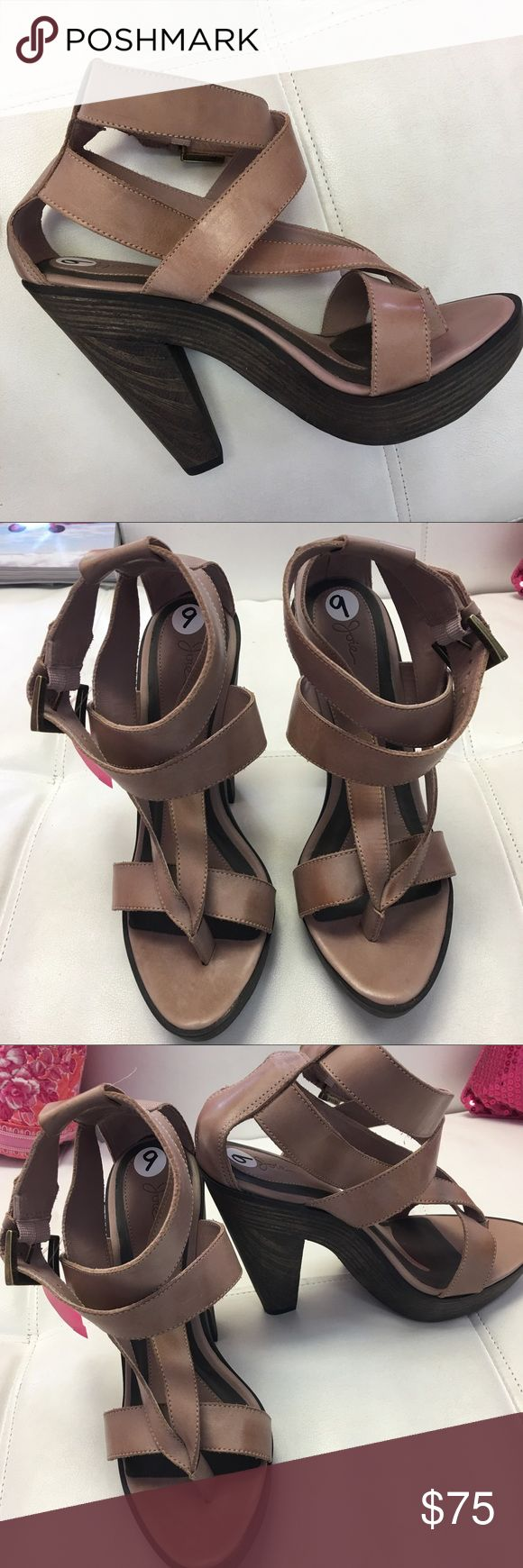 "JOIE Taupe Strappy Leather Heels Very nice wide leather straps. Excellent Condition! 4"" wooden sandal heel. 9 medium Joie Shoes Heels"