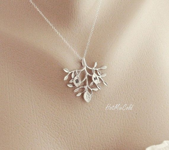 THREE Monogram Necklace Silver Tree Necklace Sisters by hotmixcold