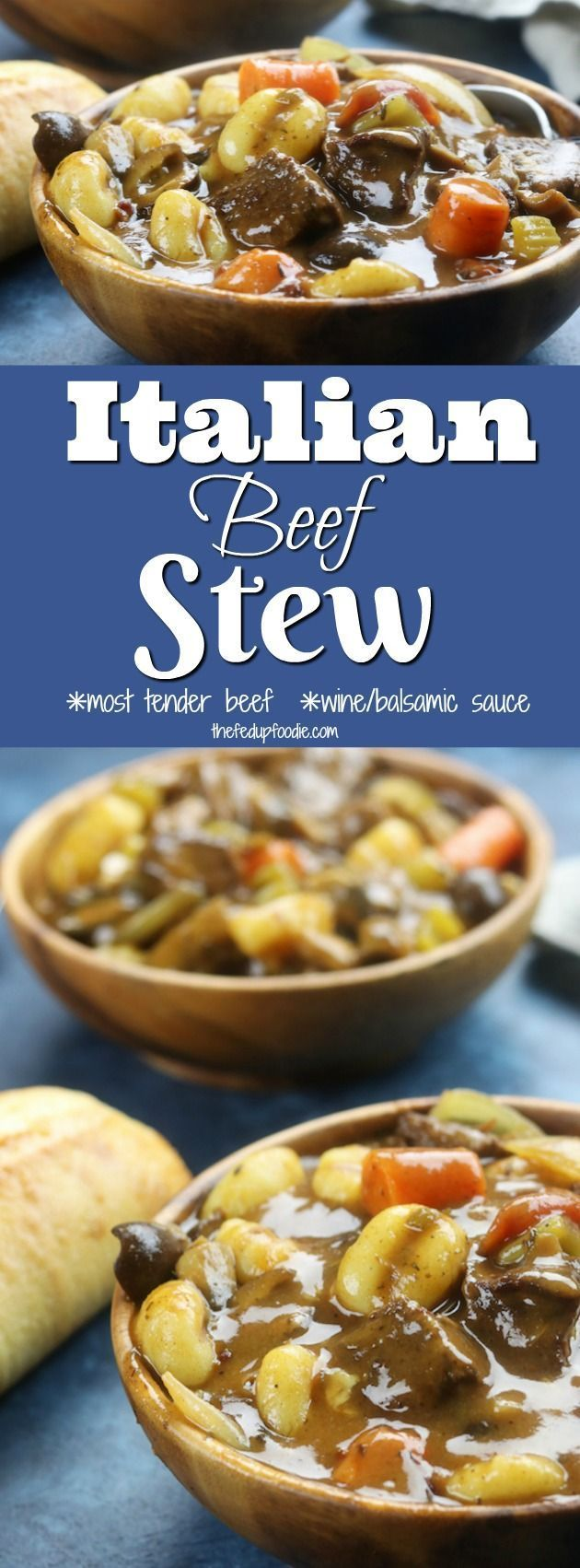 Italian Beef Stew recipe has melt in your mouth tender beef, a rich sauce with the tastes of Italy, tender gnocchi and hearty veggies. The best comfort meal on chilly days and a favorite for family meals. https://www.thefedupfoodie.com
