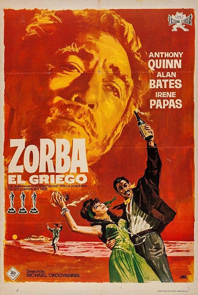 Mihalis Kakogiannis´ classic ZORBA THE GREEK from 1964, Spanish poster. It won three Oscars.