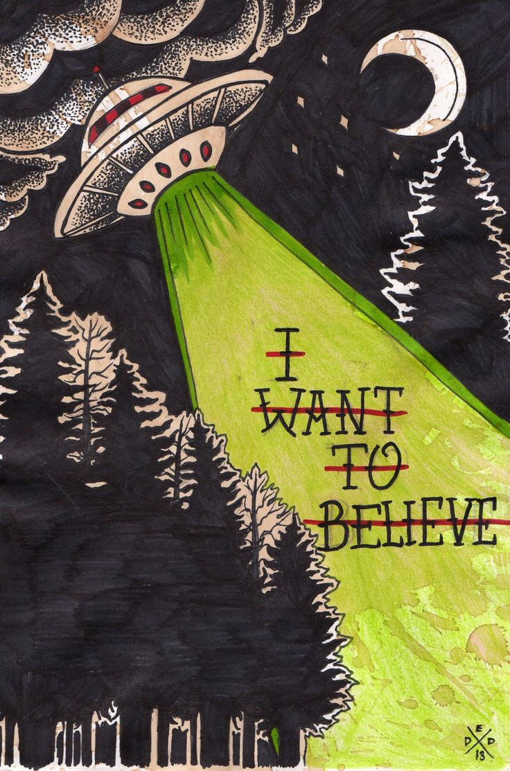 """I Want to Believe"" by Dead End Design // Deceptively cute, then just plain creepy. Love it."