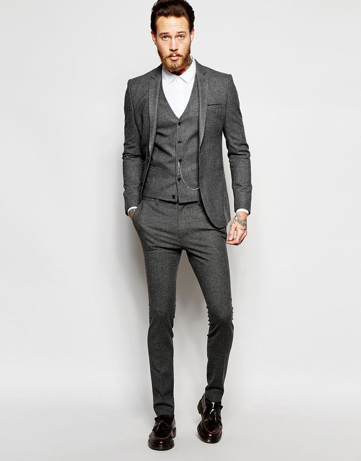 Image 1 of ASOS Super Skinny Suit In Grey Dogstooth