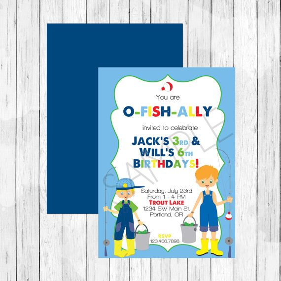 Fishing theme party personalized birthday invitation or for Fishing birthday party invitations