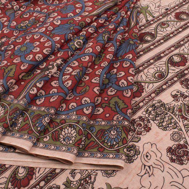 Hand Printed Maroon Kalamkari Cotton Saree With Floral Motifs 10019043 - AVISHYA.COM