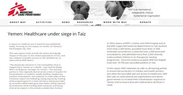 Sınır Tanımayan Doktorlar'dan Yemen raporu