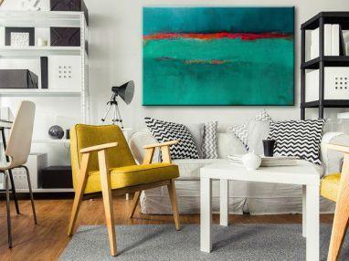 obraz ręcznie malowany szmaragdowy