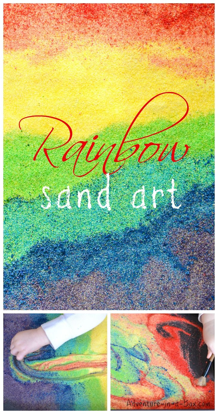 Rainbow Sand Art: Looking for an unusual art project for kids? Try rainbow sand art! It is colourful, fun, and great for sensory play and light tables.