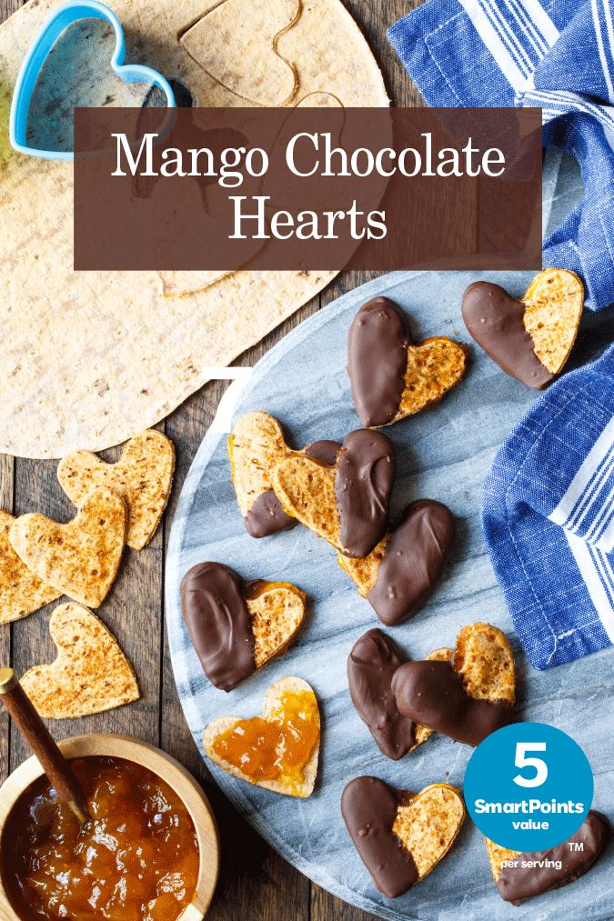 Weight Watchers® SmartPoints® value: 5 per serving, based on one cookie Serves 4 1 Flatout flatbread, Light Original 2 tablespoons mango preserves 1/4 cup dark chocolate chips 1 teaspoon coconut sugar 1/2 teaspoon coconut oil Coconut oil spray Preheat oven to 375°F. With a 2″ heart shaped cookie cutter, cut eight heart shapes from one Continue Reading...