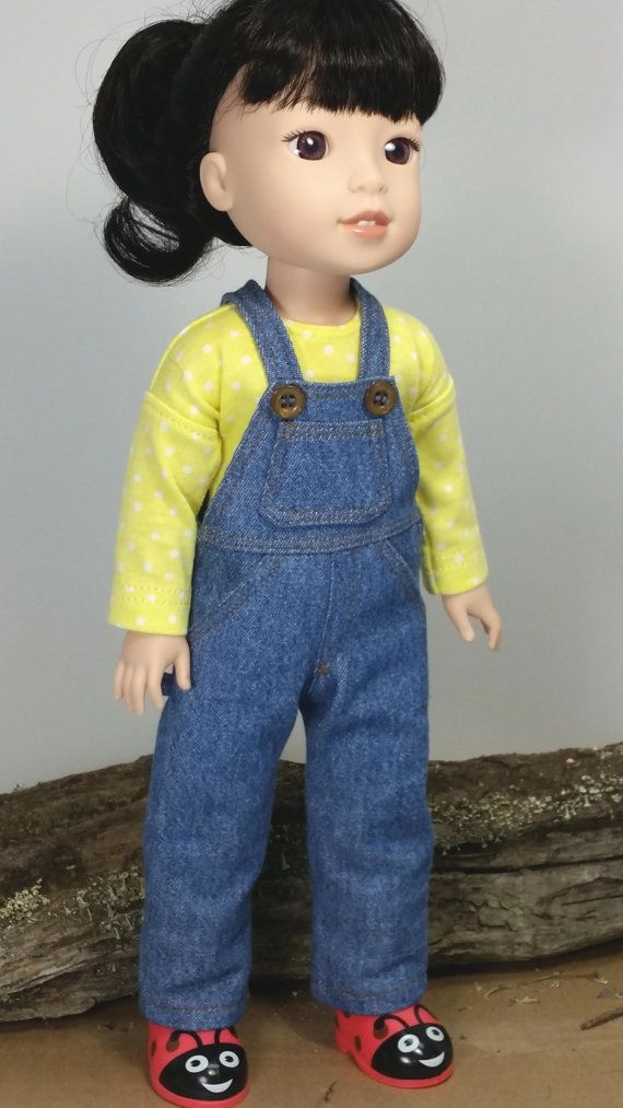 Wellie Wisher Denim Overalls, American Made to Fit 14 1/2 Inch Girl Dolls