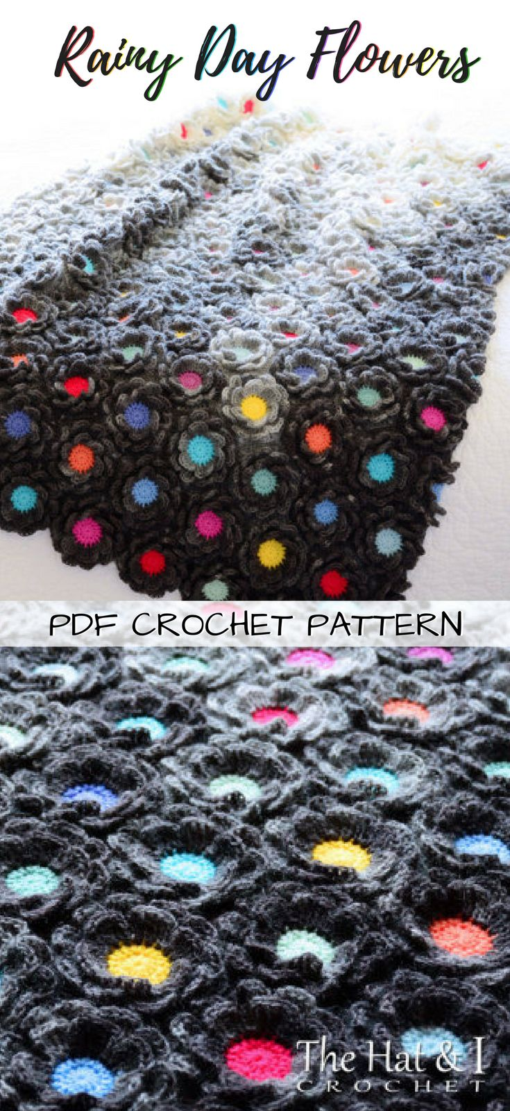 Rainy Day Flowers crocheted afghan pattern. Great throw blanket for a nursery, kid's room or even a teen room! #etsy #ad #pdf #crochet #pattern #download #instant #printable #crochetblankets #crochetafghans