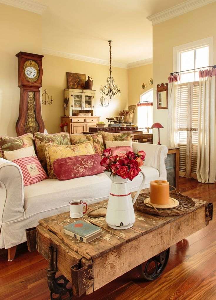 Warm Colors Wood White Couch And I Love The Industrial Cart Coffee Table