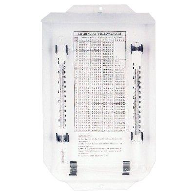 AN 25.0636 - Psicrometro in acciaio con tabella di misurazione - H. 35 cm