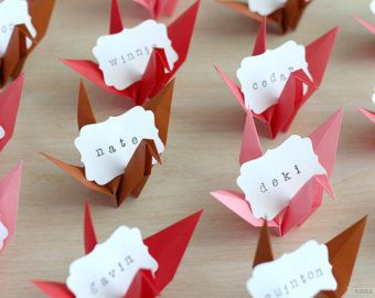 16 Name Place Cards Vintage Rose Garden Inspired Origami Crane Favors Wedding Bridal Shower Engagement Reception Red Brown Pink Paper Cranes