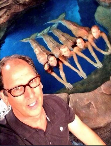 Mermaids and Jonathan M. Shiff, the director. Gemma Forsyth (Evie) has a tail in this photo!