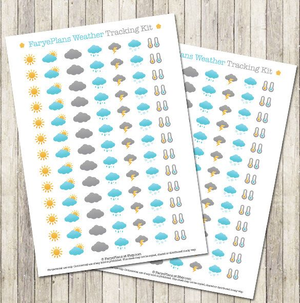 Weather tracking printable planner stickers for Erin Condren Lifeplanner, Filofax, Happy Planner, scrapbooking / INSTANT DOWNLOAD by FaryePlans on Etsy https://www.etsy.com/listing/246312916/weather-tracking-printable-planner