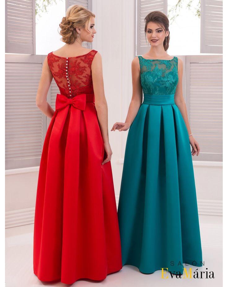 Dlhé spoločenské šaty so skladanou sukňou a s čipkovaným vrškom zdobené mašličkou na gombíčky