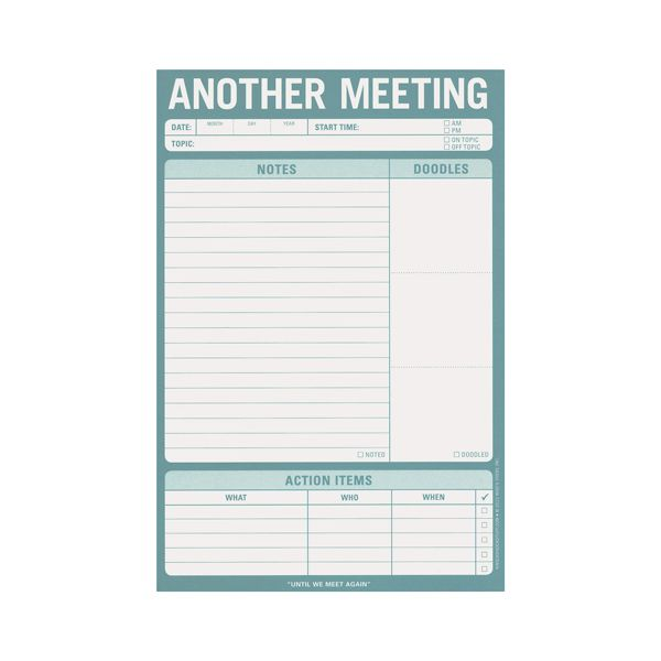 Meeting Notes, Note pad $7 See Jane Work, keep track of what was said ...