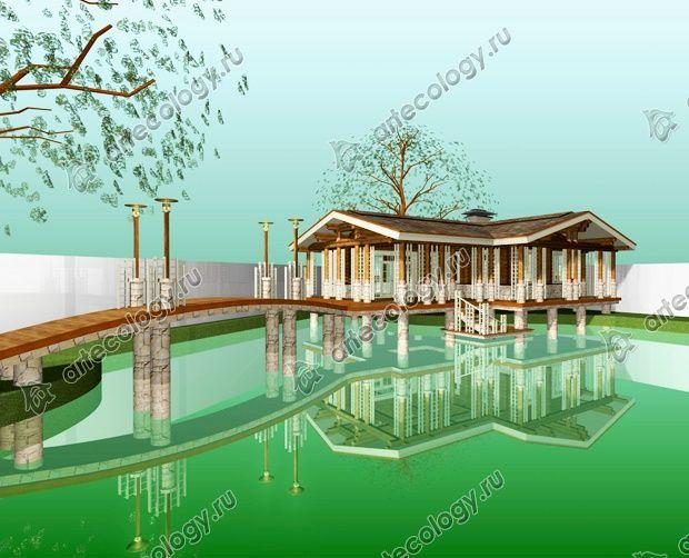 """3D модель бани """"На озере"""""""