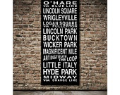 Chicago Destination Roll / Subway Scroll / Tram Banner / Bus Schedule 28in x  64in - Ready to Hang